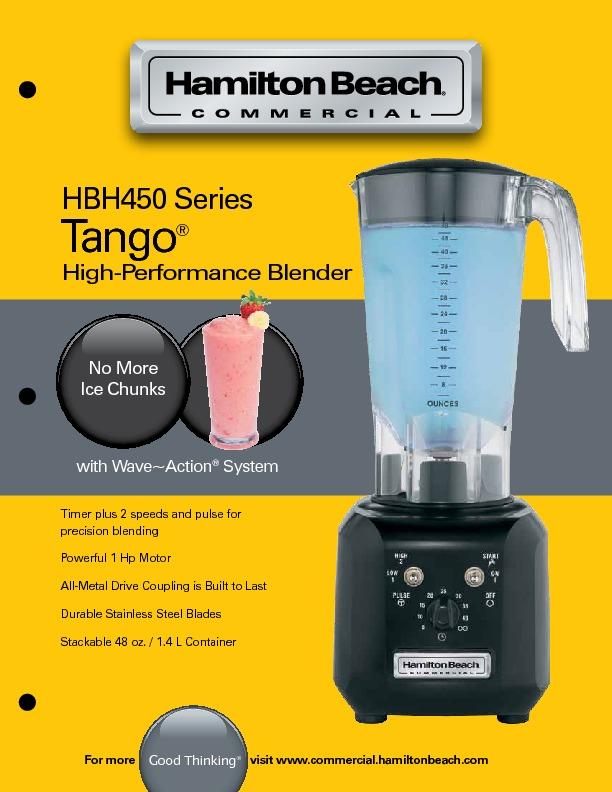 17842 | Профессиональный блендер Hamilton Beach HBH450CE | Coffee Shop